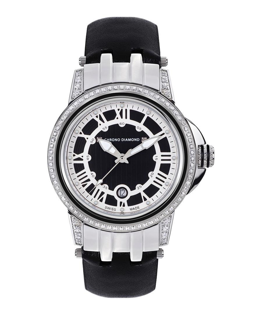 Dionne silver-tone & black leather watch Sale - chrono diamond