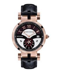 Feronia black & rose gold-tone watch