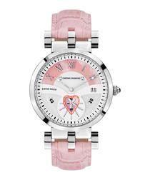 Feronia pink leather strap watch