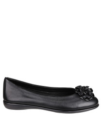 Miss Drape Cashmere black leather flats