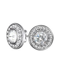 Mandala silver-tone Swarovski earrings