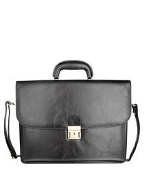 Black bonded leather briefcase