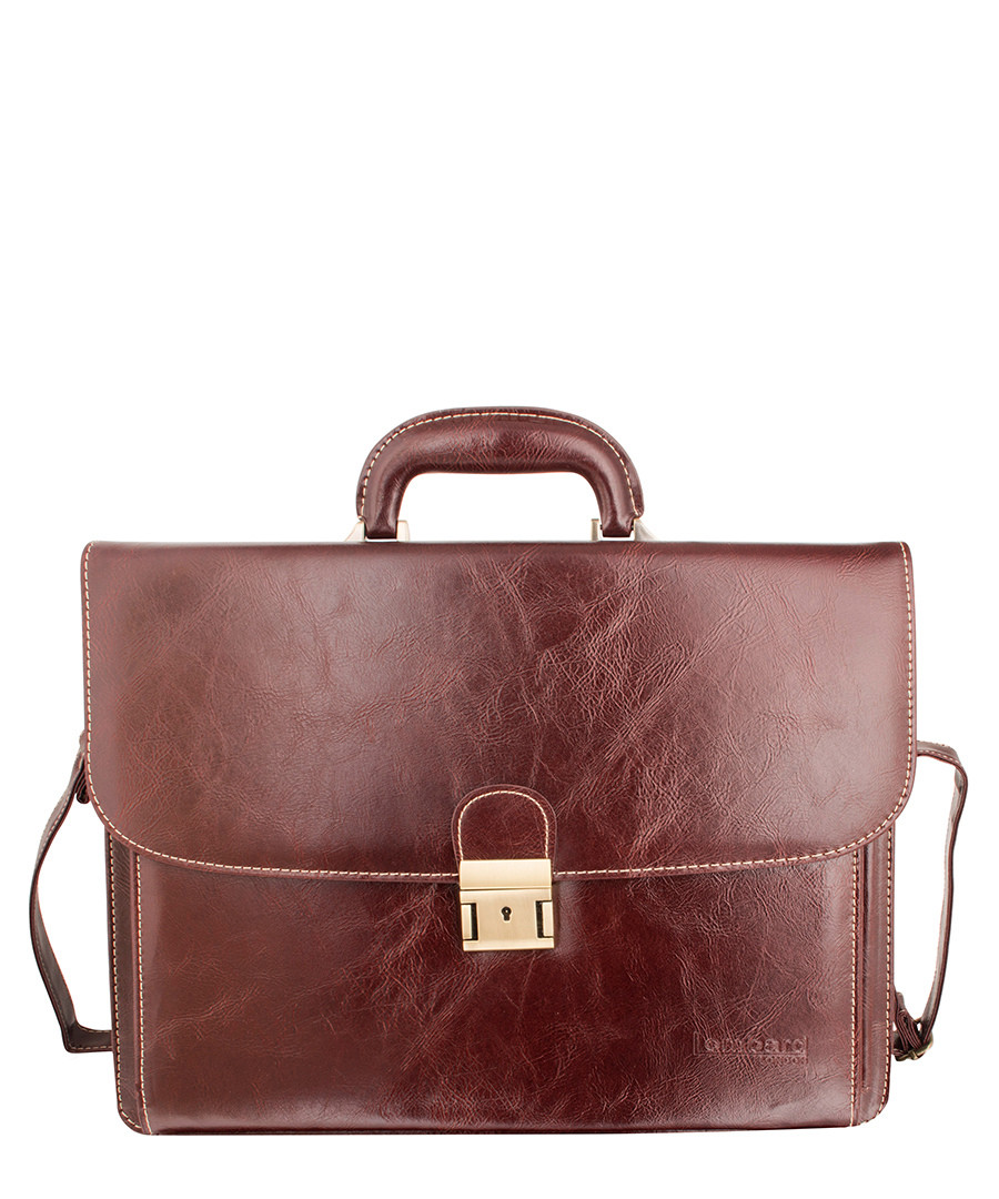 Burgundy bonded leather briefcase Sale - woodland leather