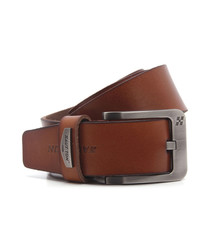 Men's tan brown leather belt