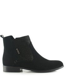 Black suede & snake-effect leather boots