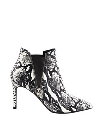 White & black snake print leather boots