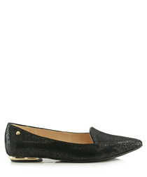 Black leather pointed loafers
