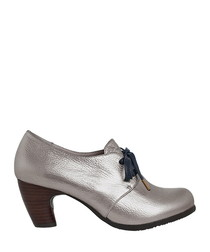 Hanya silver leather heeled boots