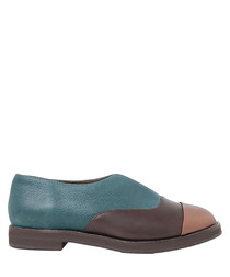 Sina teal & brown leather slipon flats