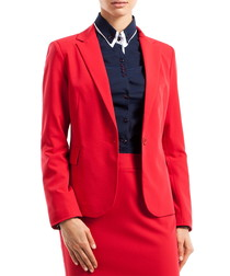Red fitted flap pocket blazer