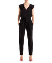 Black wrap front jumpsuit