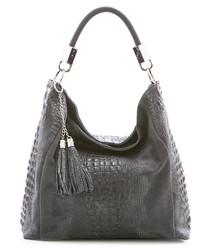 Grey leather moc-croc shoulder bag