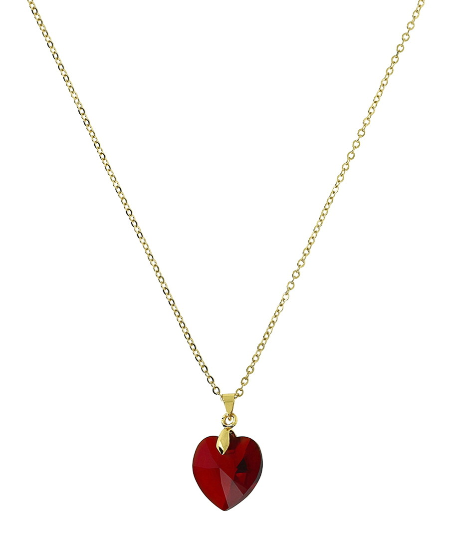 24k gold-plated red heart necklace Sale - orcea