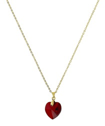 24k gold-plated red heart necklace