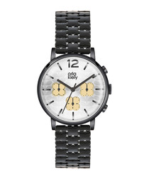 Frankie black steel floral strap watch