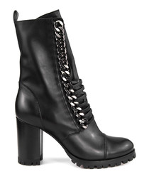 Black leather chain lace-up boots
