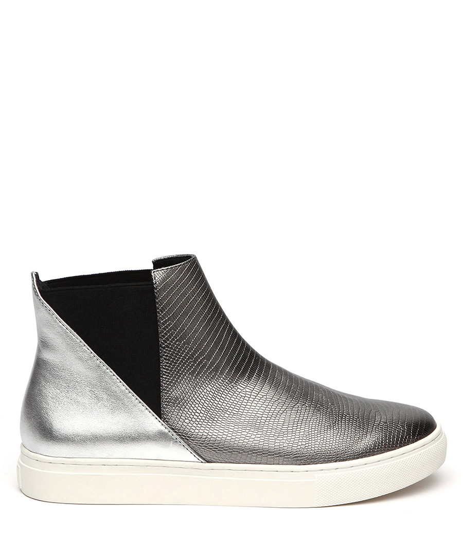 Silver leather textured ankle boots Sale - JADY ROSE