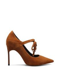 Brown suede Mary Jane heels