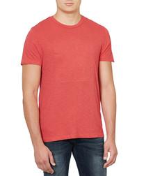 Red pure cotton stitch detail T-shirt