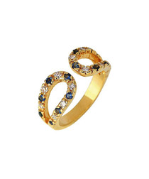 24ct gold-plated crystal loop ring