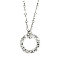 Silver-tone & circular crystal necklace