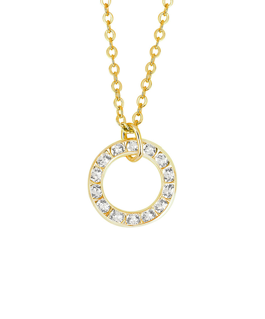 Gold-plated circular crystal necklace Sale - orcea
