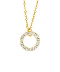 Gold-plated & circular crystal necklace