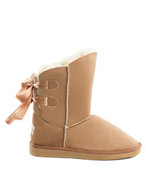 Bow chestnut lined ankle boots