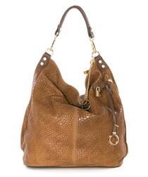 Nut leather woven shoulder bag