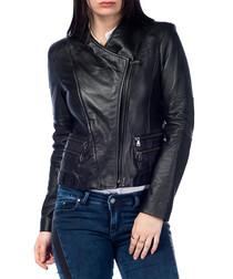 Black leather asymmetric neck jacket