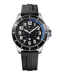 La Essentials black steel watch