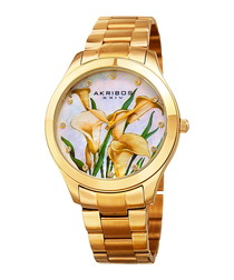 Gold-tone floral dial watch