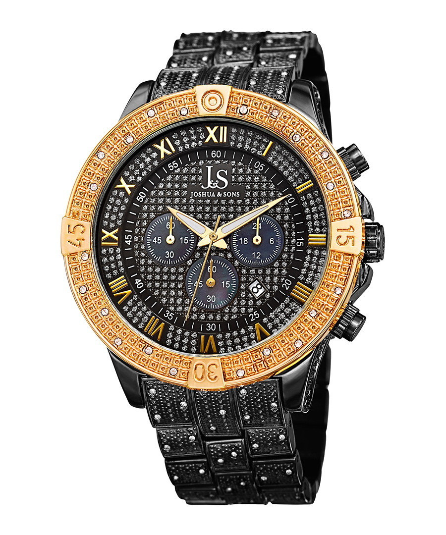Gold-tone & black crystal watch Sale - joshua & sons