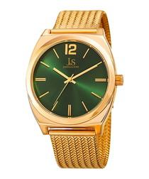 Gold-tone & green dial watch