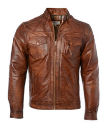 Tan leather classic jacket