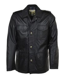 Black leather button front coat