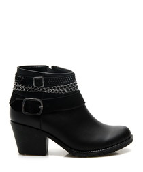 Black buckle chain ankle boots