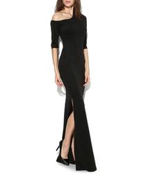 Black asymmetric maxi dress