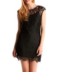 Black crochet lace mini dress