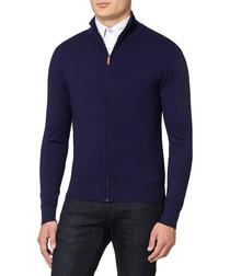 Midnight cashmere blend zip jumper