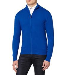Royal blue cashmere blend zip jumper