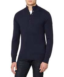 Navy cashmere blend button jumper