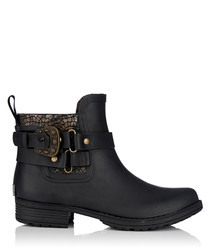 Womens black rubber ankle boots