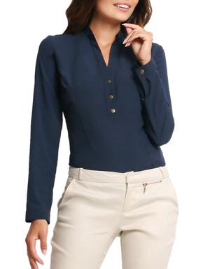 606bb13c1c456 AWAMA. Navy V-neck long-sleeve top