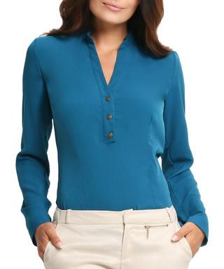 1c45fcd8cdab2 AWAMA. Green V-neck long-sleeve top