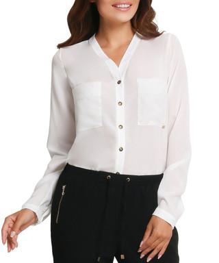 d584d07e32c7d AWAMA. Cream V-neck long-sleeve top