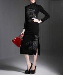 Black velvet oriental midi dress