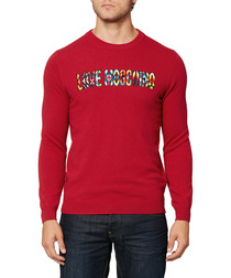 Red wool & silk blend slogan jumper