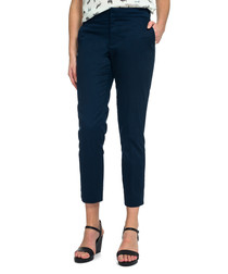 Corynna navy cotton cropped trousers