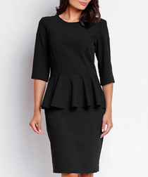 Black peplum detail dress
